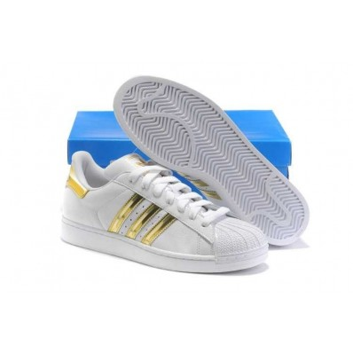 adidas superstar blanche et doree