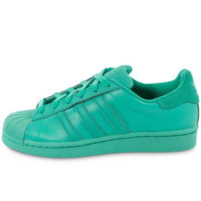 adidas superstar vert d'eau et blanche