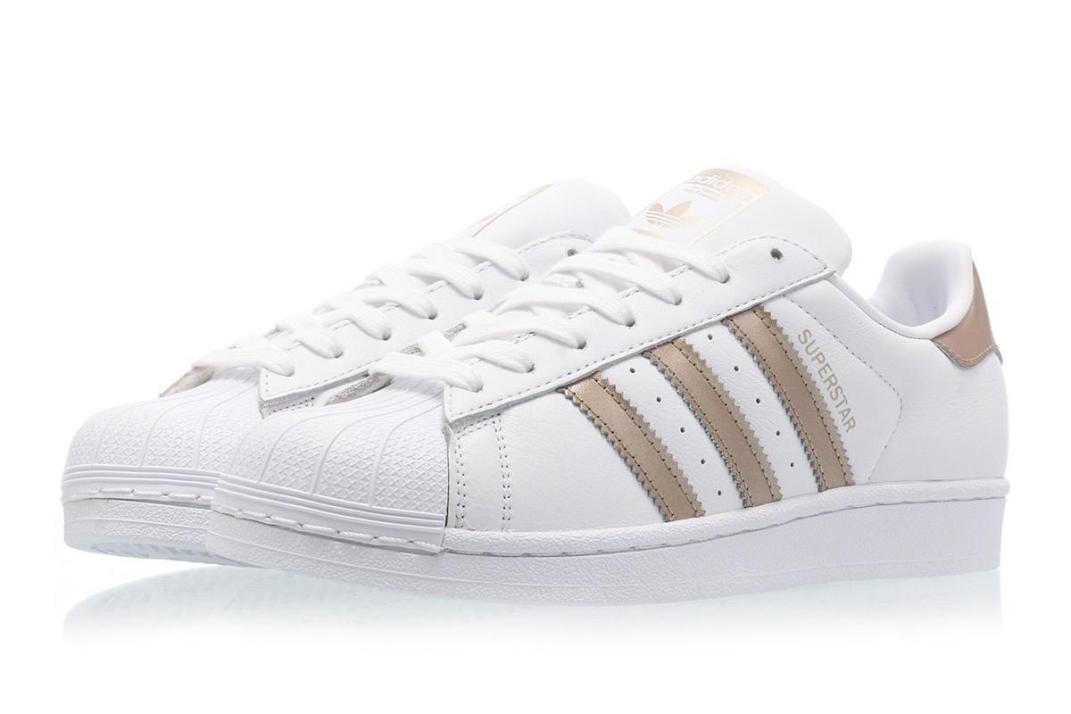 adidas superstar femme blanc et gris