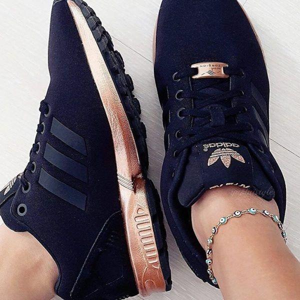 adidas zx flux noir et or rose