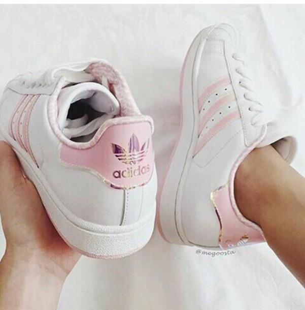 superstar femme adidas rose et blanche